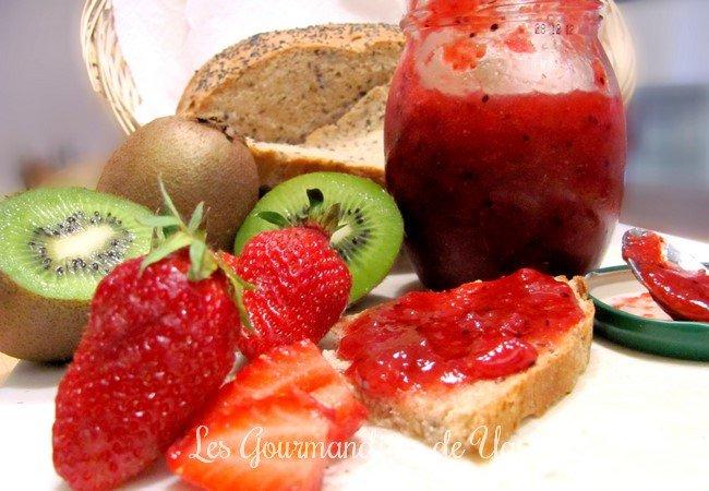 confiture de fraise et kiwi